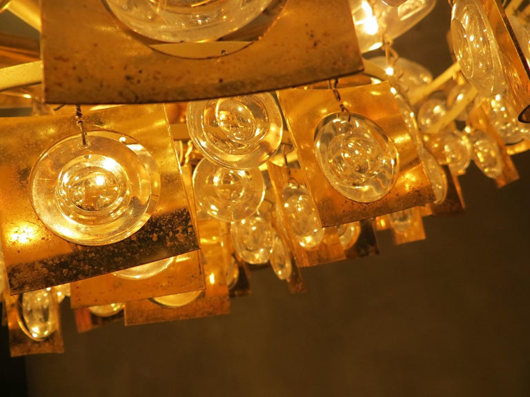 Large & Extraordinary Midcentury Brutalist Gilt Brass & Crystal Chandelier 1960s For Sale 8