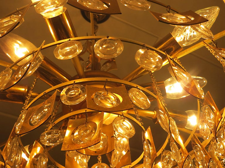 Large & Extraordinary Midcentury Brutalist Gilt Brass & Crystal Chandelier 1960s For Sale 10