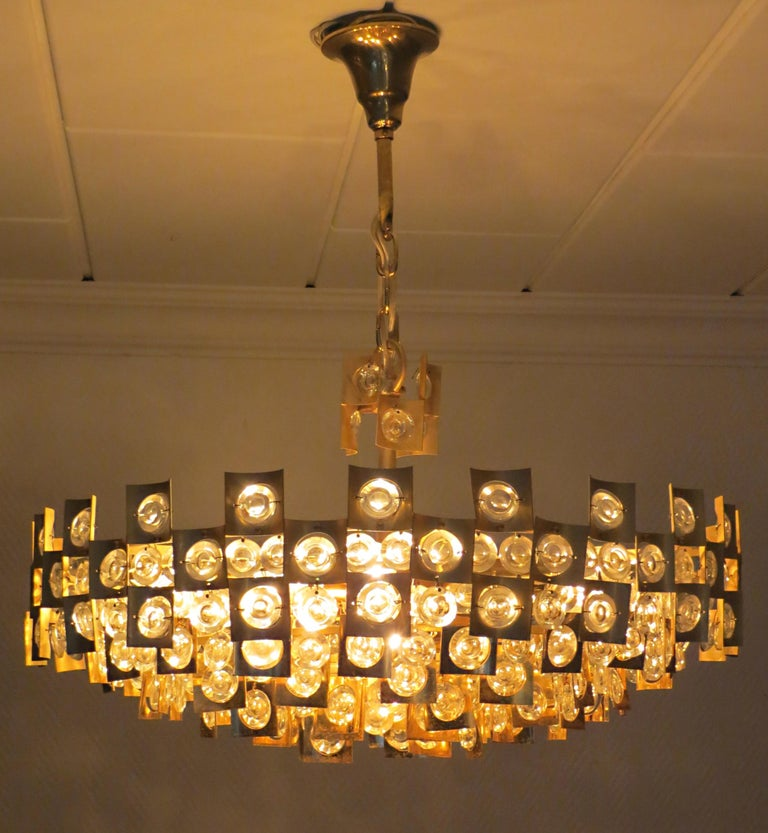 Mid-Century Modern Large & Extraordinary Midcentury Brutalist Gilt Brass & Crystal Chandelier 1960s For Sale