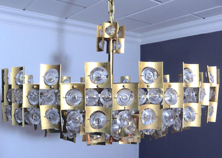 Large & Extraordinary Midcentury Brutalist Gilt Brass & Crystal Chandelier 1960s For Sale 2