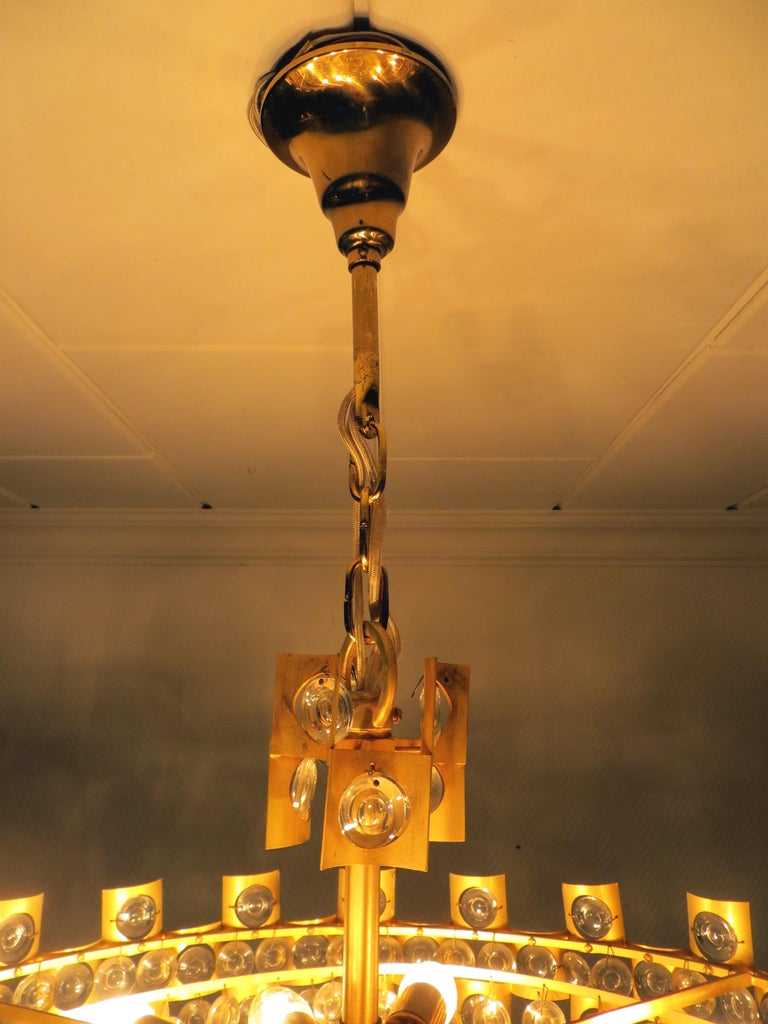 Large & Extraordinary Midcentury Brutalist Gilt Brass & Crystal Chandelier 1960s For Sale 3