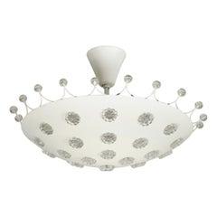 Extraordinary Large Midcentury Metal Ceiling Lamp by Emil Stejnar