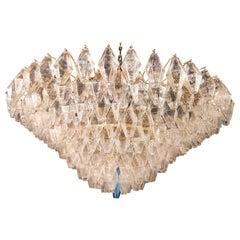 Extraordinary Large Poliedri Murano Glass Ceiling Light or Chandelier