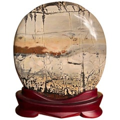 Extraordinary Large Round Natural Viewing Stone, Custom Display Base, Fine Gift