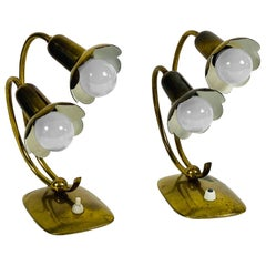Extraordinary Mid-Century Modern Brass Table Lamps, Pair, 1960s