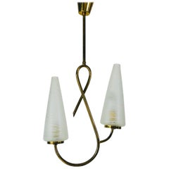 Extraordinary Midcentury Pendant Lamp Attributed to Maison Lunel, France, 1950s
