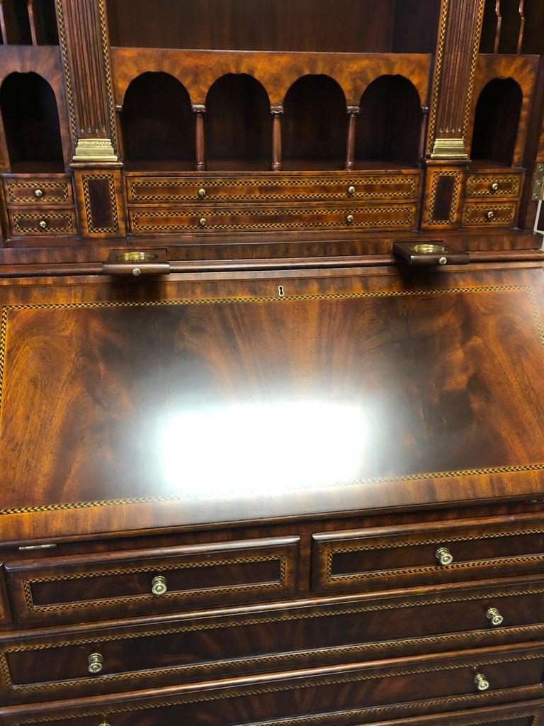 Extraordinary Ornate Flame Mahogany and Inlay Secretary For Sale 6