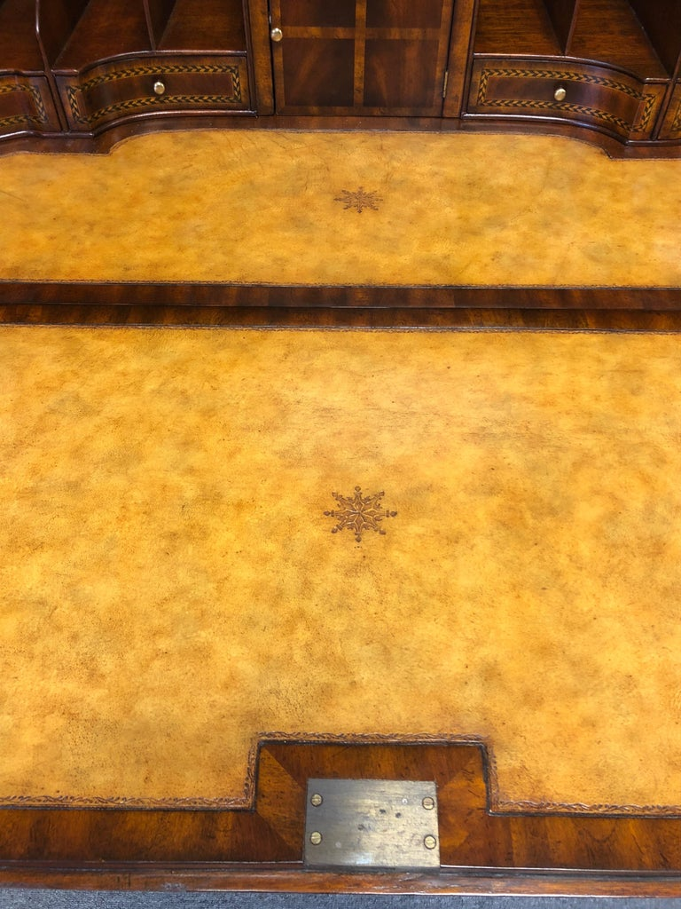 Extraordinary Ornate Flame Mahogany and Inlay Secretary For Sale 8