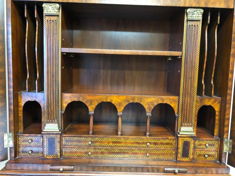 American Extraordinary Ornate Flame Mahogany and Inlay Secretary For Sale
