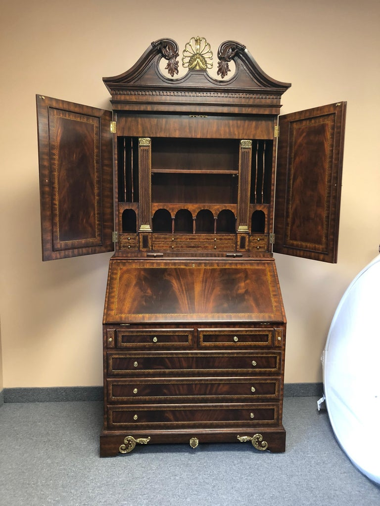 Extraordinary Ornate Flame Mahogany and Inlay Secretary In Excellent Condition For Sale In Hopewell, NJ