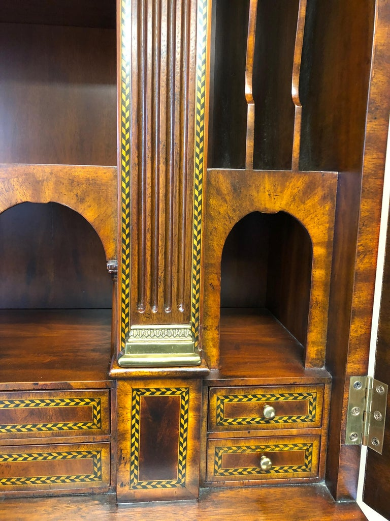 Extraordinary Ornate Flame Mahogany and Inlay Secretary For Sale 2