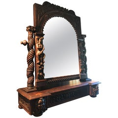 Extraordinary Ornately Carved Early British Dark Oak Tabletop Mirror