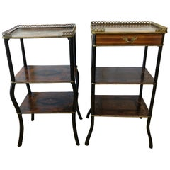 Extraordinary Pair of French Antique 3-Tier Étagère Side End Tables