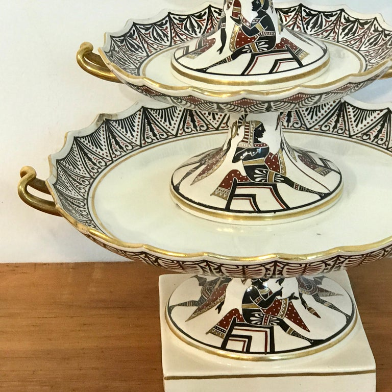 Extraordinary Pair of Giustiniani Egyptomania Pottery Tiered Tazza For Sale 6