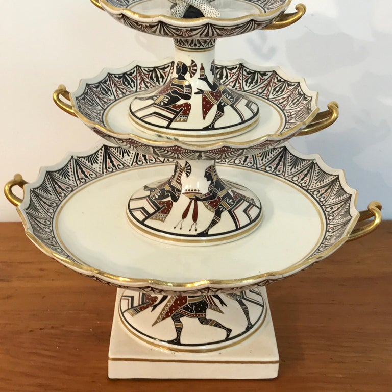 19th Century Extraordinary Pair of Giustiniani Egyptomania Pottery Tiered Tazza For Sale