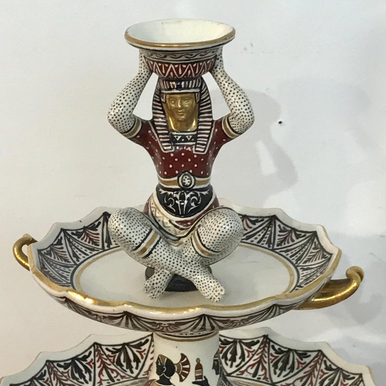 Extraordinary Pair of Giustiniani Egyptomania Pottery Tiered Tazza For Sale 1