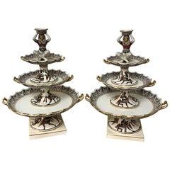 Extraordinary Pair of Giustiniani Egyptomania Pottery Tiered Tazza