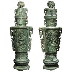 Extraordinary Pair of Massive Chinese Carved Serpentine Covered Vases