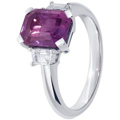 Extraordinary Purple Sapphire Trilogy Ring with Diamonds in White Gold