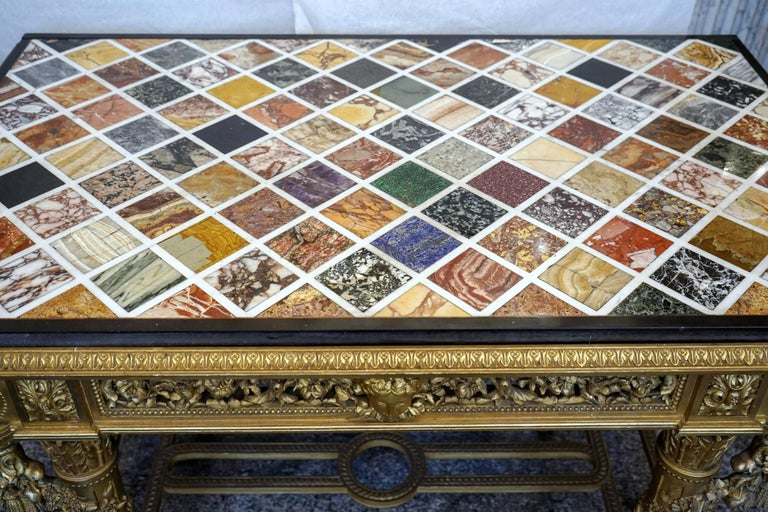 Extraordinary Rectangular Giltwood Centre Table 19th Century Marble Intarsia Top For Sale 1