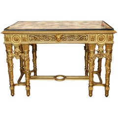 Extraordinary Rectangular Giltwood Centre Table 19th Century Marble Intarsia Top