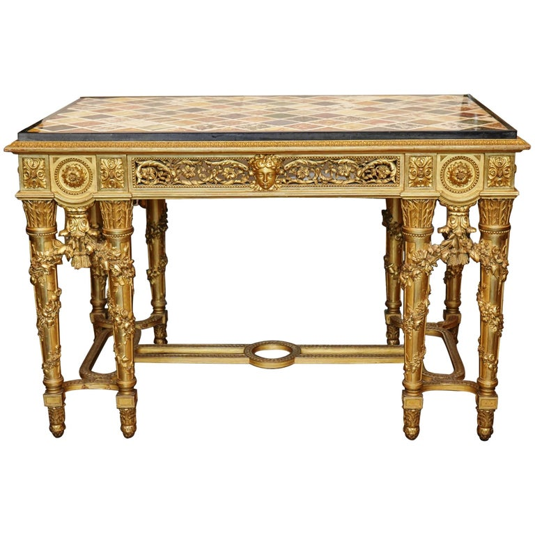 Extraordinary Rectangular Giltwood Centre Table 19th Century Marble Intarsia Top For Sale