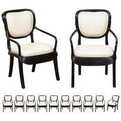 Extraordinary Set of 12 Trompe L'oiel Dining Chairs by Cobonpue, circa 1980