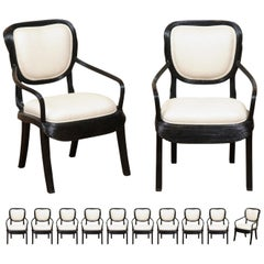 Extraordinary Set of 14 Trompe L'oiel Arm Dining Chairs by Cobonpue, circa 1980