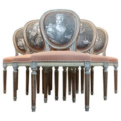 Extraordinary Set of Six Jacques Grange Louis XVI Chairs