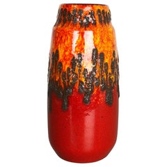 Extraordinary Zig Zag Pottery Fat Lava Vase Made by Scheurich, Germany, 1970s