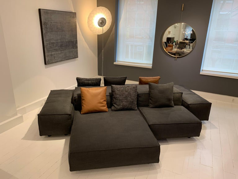 Modern Extrasoft 8-Piece Modular Sofa in Gray Fabric by Piero Lissoni and Living Divani For Sale