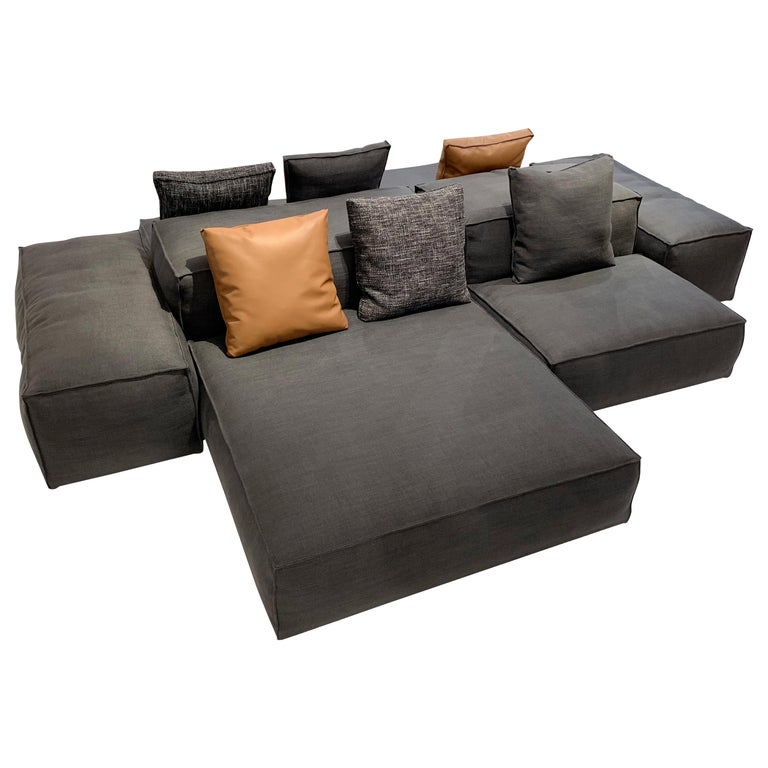 Extrasoft 8-Piece Modular Sofa in Gray Fabric by Piero Lissoni and Living Divani For Sale