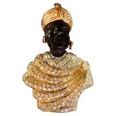 Extravagant 18 K Yellow Gold Moretto Brooch Ebony Diamonds