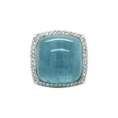 Extravagant Aquamarine and Diamond Ring in 18 Karat White Gold