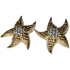 Extravagant Diamond and Gold Starfish Clip-On Earrings