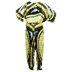 Extravagant Emilio Pucci Signature Print Paisley Silk Jumpsuit Overall One-Piece