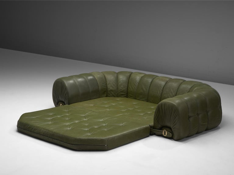 Magnificent Extravagant Tufted Sofa Bed In Navy Green Leather Italy Uwap Interior Chair Design Uwaporg