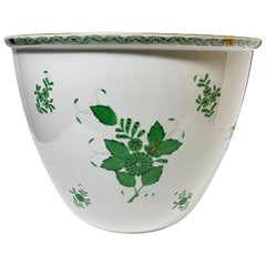 "Extreme Large Cachepot Herend Hungary Porcelain ""Chinese Bouquet Apponyi Green"""
