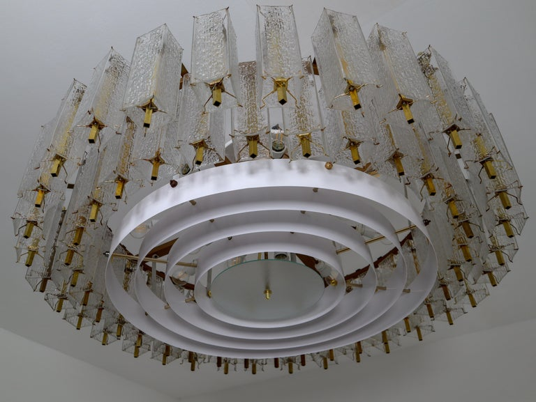 Extreme Large Midcentury Chandelier with Ice Glass Tubes in Brass Fixture For Sale 5