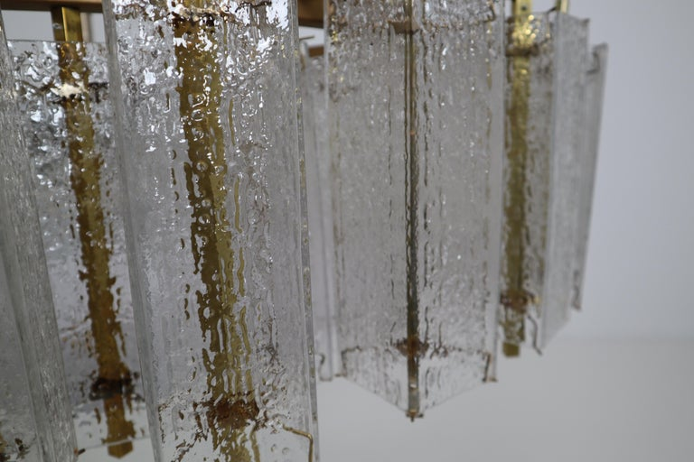Extreme Large Midcentury Chandelier with Ice Glass Tubes in Brass Fixture For Sale 6