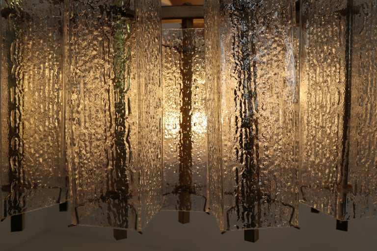 Extreme Large Midcentury Chandelier with Ice Glass Tubes in Brass Fixture For Sale 7