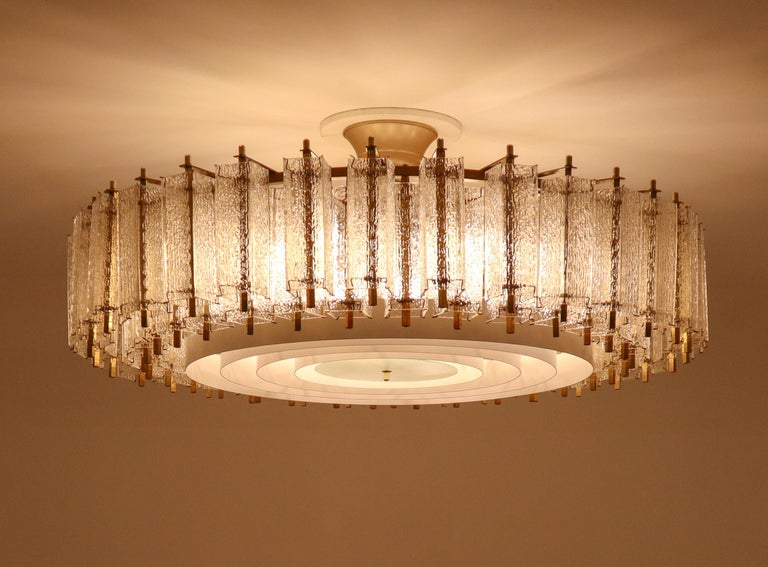 20th Century Extreme Large Midcentury Chandelier with Ice Glass Tubes in Brass Fixture For Sale