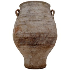 Extreme Large Three-Handled Painted Terracotta Urn from the Early 20th Century