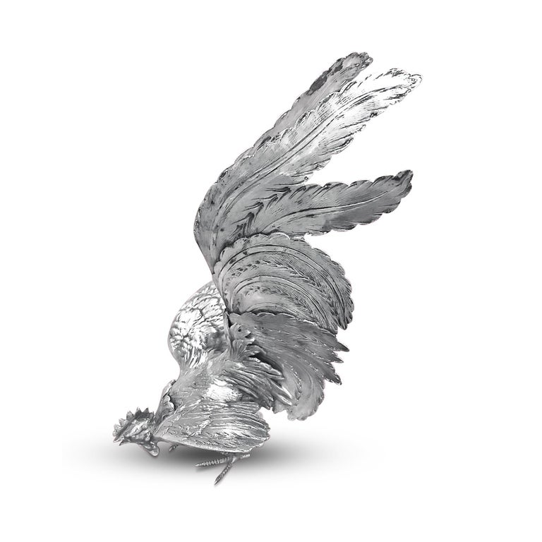 Artisan Extreme Rare German Made, Pair of Silver Rooster Figurine For Sale