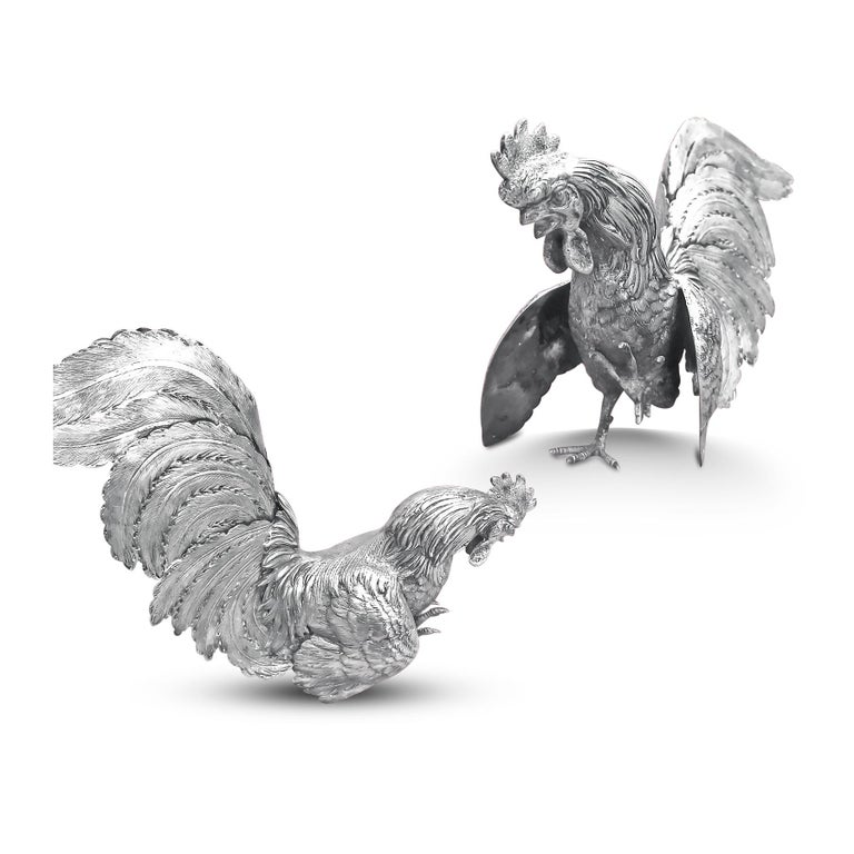 Women's or Men's Extreme Rare German Made, Pair of Silver Rooster Figurine For Sale