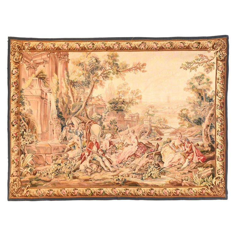 Extremely Fine Antique Aubusson-Beauvais Pictorial French Tapestry For Sale