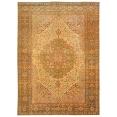 "Extremely Fine Antique Persian Tabriz by Haji Jalili Rug. Size: 9' 4"" x 13'"