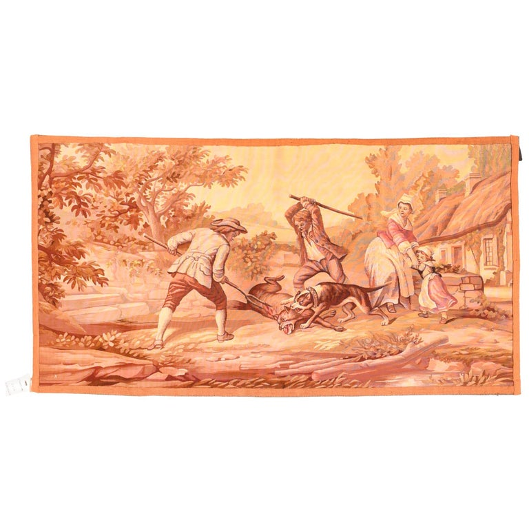 Extremely Fine Antique Pictorial French Tapestry Hand Knotted circa 19th Century For Sale