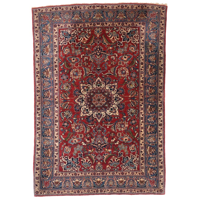 Antique Persian Toudeshk Naeen Area Rug For Sale