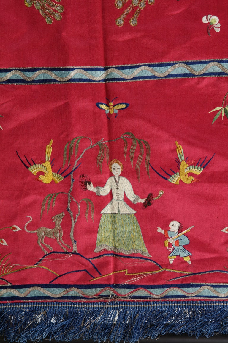 Chinese Export Extremely Fine Chinese Silk Embroidered Bed-Cover for the Dutch Market For Sale